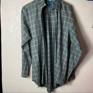 Men's Small Dark Green Plaid Polo Blue Horse